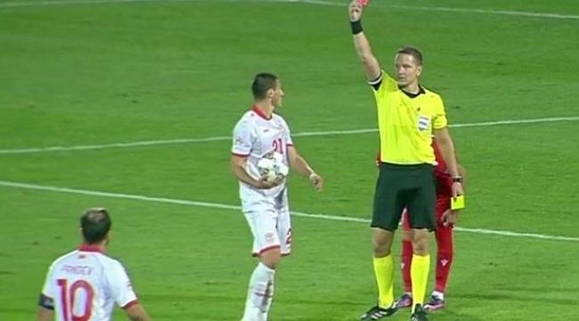 Eljif Elmas, Uluslar Ligi'nde kırmızı kart gördü