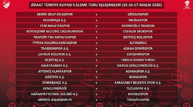 Türkiye Kupası'nda 5. tur eşleşmeleri belli oldu