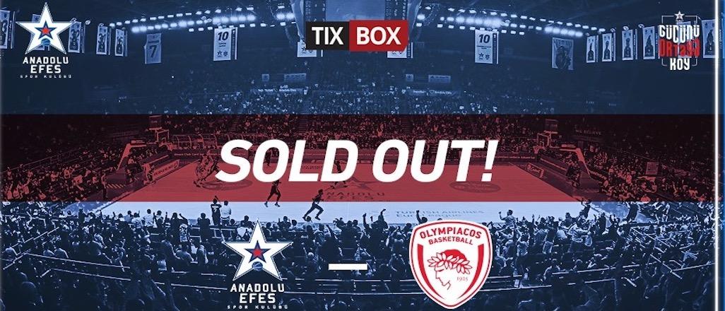 Anadolu Efes – Olympiakos maçının biletleri tükendi