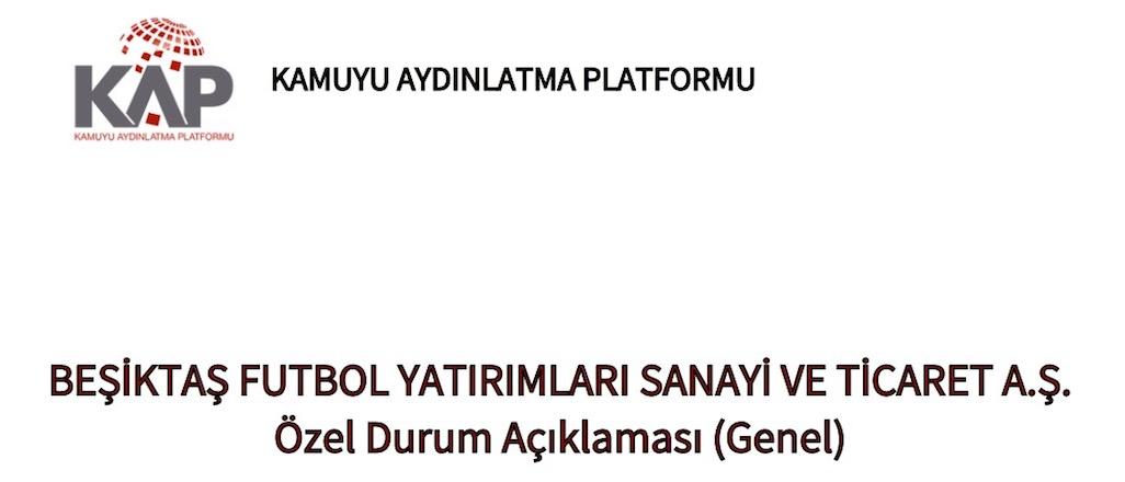Beşiktaş UEFA anlaşmasını Borsa'ya bildirdi