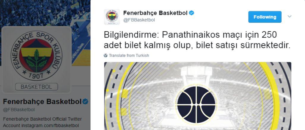 Panathinaikos maçı için biletler tükeniyor